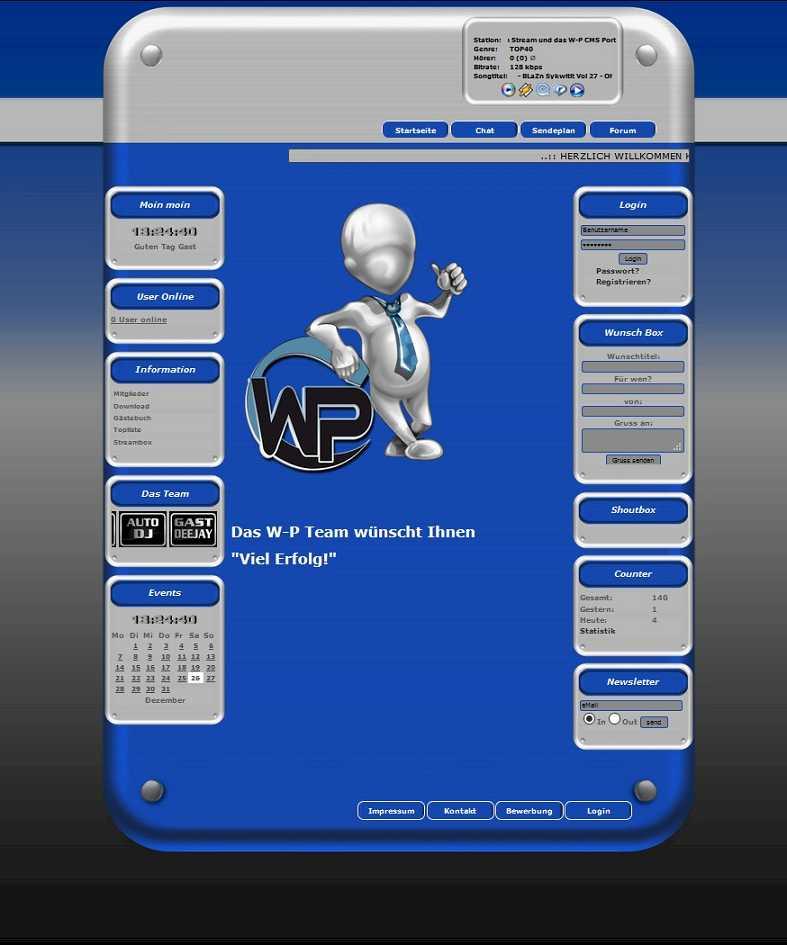 W-P Blaue Seite, Universel-Template für das CMS Portal V2