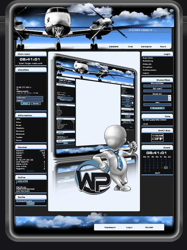 W-P Flugzeug, Fun-Template für das CMS Portal V2