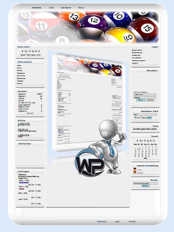 W-P Billard, Sport-Template für das CMS Portal V2