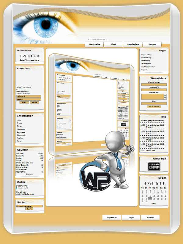 W-P Blue Eye, Fun-Template für das CMS Portal V2