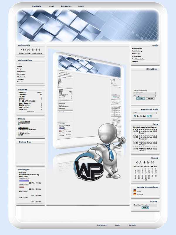W-P Blue Quadrat, Fun-Template für das CMS Portal V2