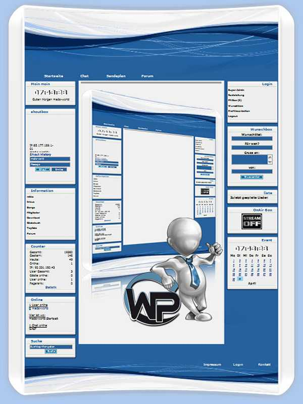 W-P Blueline, Business-Template für das CMS Portal V2