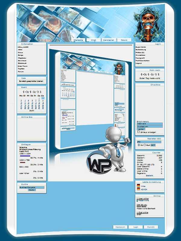 W-P Bonehead, Fun-Template für das CMS Portal V2
