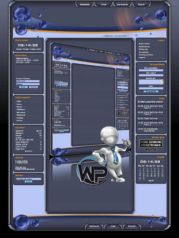 W-P Bubble, Fun-Template für das CMS Portal V2