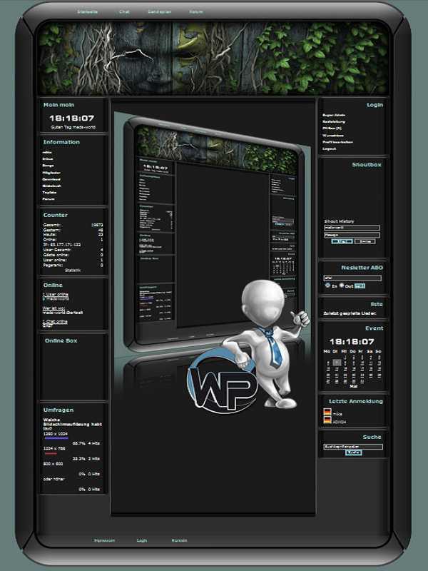 W-P Efeu Maske, Fun-Template für das CMS Portal V2