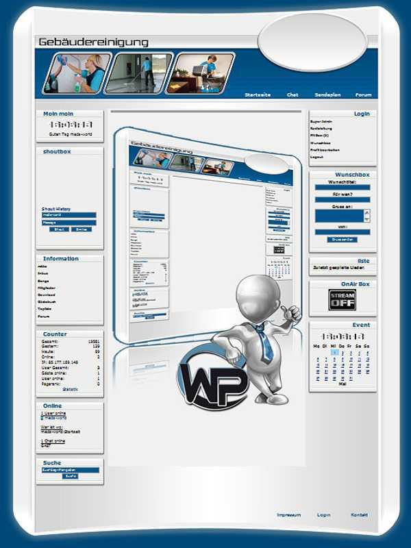 W-P Gebäudereinigung, Business-Template für das CMS Portal V2