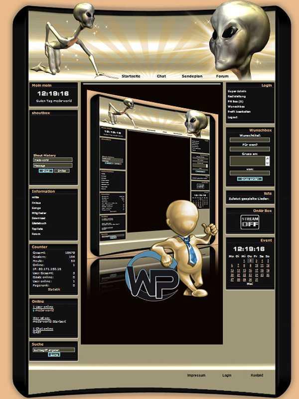 W-P Gold Alien, SiFi-Template für das CMS Portal V2