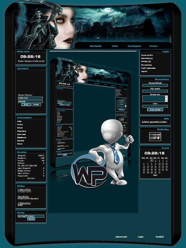 W-P Death, Gothic-Template für das CMS Portal V2