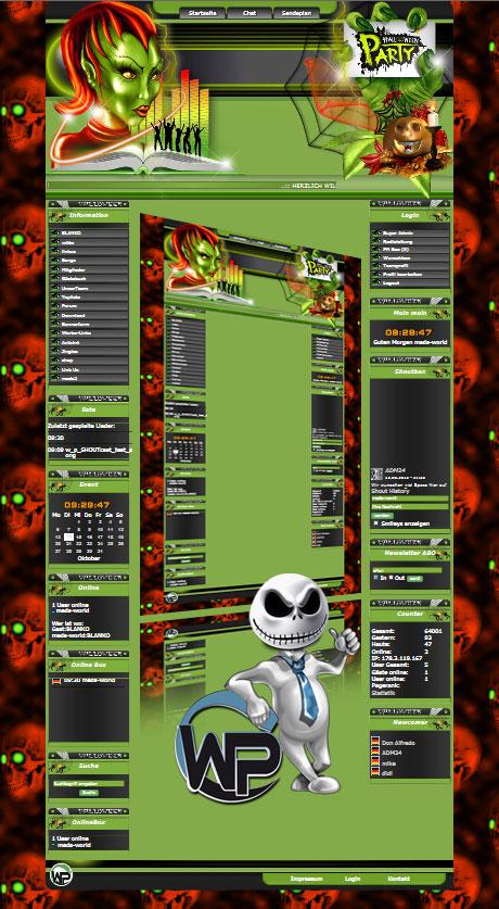 W-P Feiertage, Halloween Party-Template für das CMS Portal V2