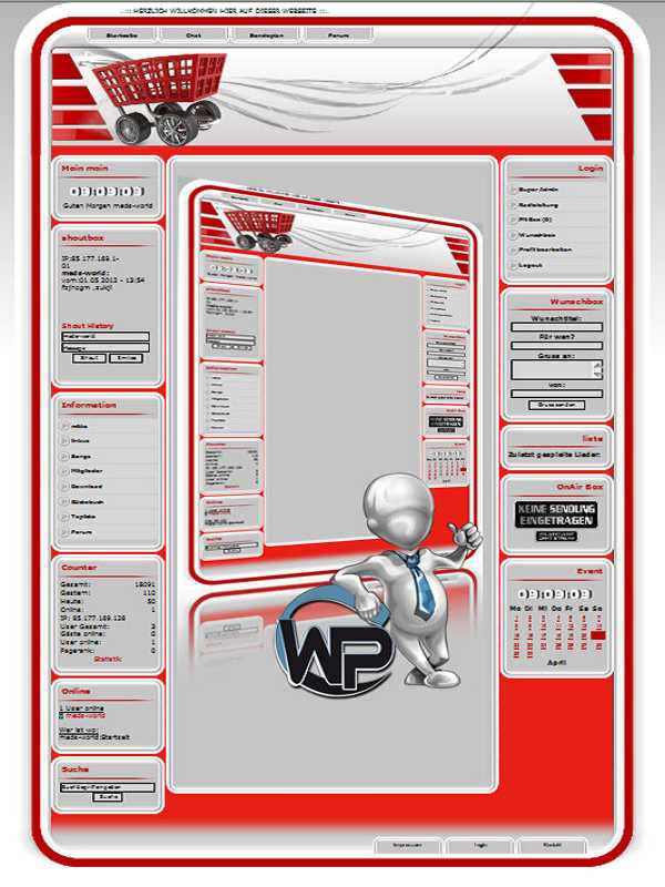W-P Red Shop, Business-Template für das CMS Portal V2